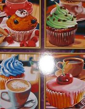 """CUPCAKES COMPETED PAINT-BY-NUMBER PICTURES, ACRYLIC PAINT,  9.5""""X7"""", 4 AVAILABLE"""