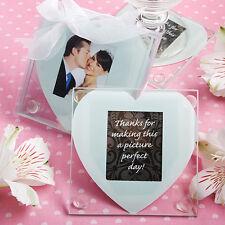 100 - Heart Design Glass Photo Coaster Wedding Favors - sets of 2