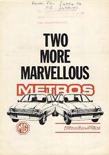 Austin Metro Vanden Plas & MG Metro 1982 UK Market Employee Information Brochure