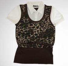 Apt. 9 Animal Print Knit Vest Sweater w/ Attached Shirt Collar Belted Top