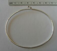 "7.5"" Sterling Silver for large hole beads & Charms 1.5mm Wire Bangle Bracelet"