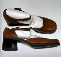 Naturalizer Leather Shoes Heels Dress NEW Brown Mary Janes Strap Womens 8 1/2 M