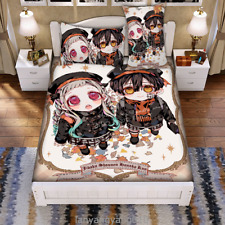 Bedclothes 3PCS Anime Toilet-bound Hanako-kun Bed Sheets Blanket Plillow Case #4