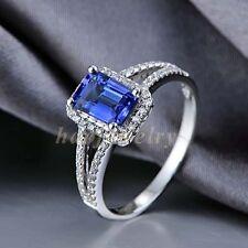 2.15CT Natural Violet-Blue Tanzanite Solid 14K White Gold Diamond Ring