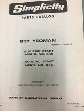simplicity Yeoman 637 #645,646 +tractor/manual & illustrated parts list