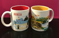 Starbucks Kuta Indonesia Series 3oz Demi Demitasse Espresso Coffee Cup Mug Set