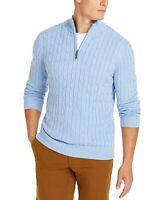 Club Room Mens Sweater Yonder Blue Size Large L 1/2 Zip Cable Knit $65- 329