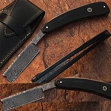 WHITE DEER Damascus Steel Straight Razor w/ Buffalo Horn Handle SHAVING Sharp