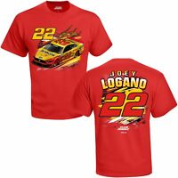 Joey Logano #22 Shell Penzoil Checkered Flag Fuel Nascar Red Tee Adult XL