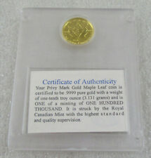 1998 Canada 1/10 oz. .999 Gold Maple Leaf * Family of Eagles Privy Variety