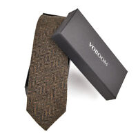Men's Wool Ties Herringbone Tweed Classic Business Wedding Formal Wool Ties B4