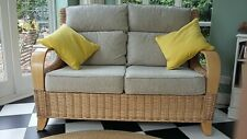 Immaculate Rattan Conservatory/Garden Room Sofa with light grey upholstery