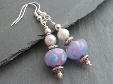 Pearl Drop Dangle Earrings Pierced Pretty Purple Lampwork Glass & White