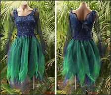 Women's Fairy Dress Costume with Sleeves & Wings - MIDNIGHT BLUE & GREEN