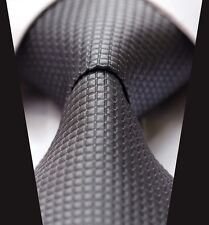 Dark Grey with White Check Silk Classic Woven Horse Show Tie *New*