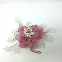Vintage Mid Century Pink Clear Glass Flower Sculpture Damaged
