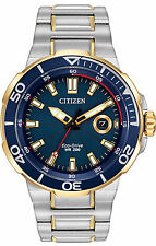 New Citizen Eco-Drive Endeavor Blue Dial Two-Tone Mens Sport Watch AW1424-54L
