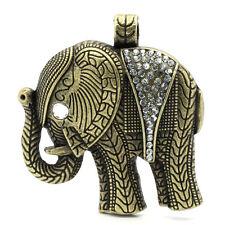 1 Large Rhinestone ELEPHANT Pendant bronze tone metal, clear crystals.  CHB0142