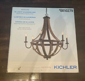 Kichler Merlot 6-Light Distressed Black and Wood Farmhouse Chandelier