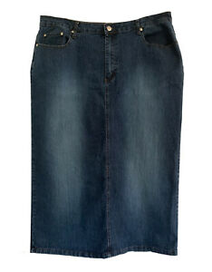Zoey Beth, Long Straight 5 Pocket Jean Skirt with Stretch, size 18