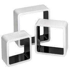 3er Set Wandregal Hängeregal Regalwürfel Cube Lounge CD Regal Holz retro s/w