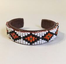 Leather Beaded Cuff Bracelet Vintage Native Southwest Style White Red Brown
