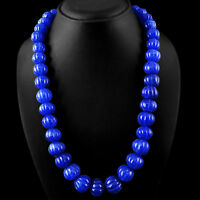 ABSOLUTELY TOP CLASS 973.75 CTS EARTH MINED BLUE SAPPHIRE CARVED BEADS NECKLACE