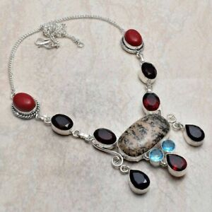 Honey Dendrite Opal Ruby Ethnic Handmade Necklace Jewelry 46 Gms AN 3576