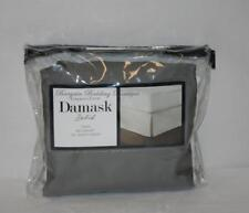 "Solid Dark GRAY Charter Club Damask TWIN Bedskirt Slate Tailored 16"" Drop Cotton"