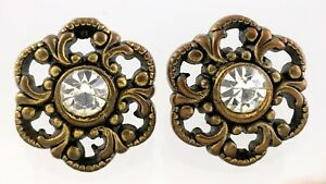 Metal Garment Button .5in Set Of 2 Floral Pattern 389B