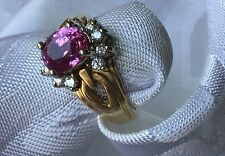 Hot Pink Sapphire 2.50 ct. and Diamond accent 14ky gold ring, reduced to $380