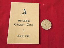 Asteriscos Cricket Club Temporada 1930 Luminaria Tarjeta