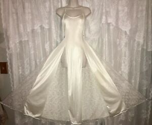 VTG PETRA L XL IVORY Bridal FULL SWEEP NYLON Nightgown olga esque Lace Panel
