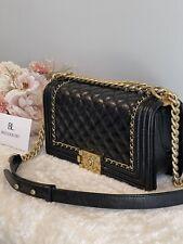 1000% Auth!🖤 Chanel Classic Medium Black 🖤 Le Boy Distressed Leather Ghw Bag