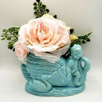 Vintage 50s Blue Girl Riding Swan Planter Vase Mid Century Art Decor Spring MCM