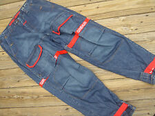 "mens Marithe Francois Girbaud blue denim jeans w 36"" X 34 relaxed fit straps red"
