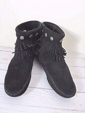 Minnetonka Black Concho Fringe Moccasin Boots Booties Women's 9M New