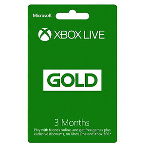 Microsoft Xbox Live Gold 3 Month Membership Online Gaming - Fast Delivery