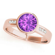 1.09 Carats Petite Bezel Amethyst Gem Stone & Diamond Engagement Ring Rose Gold