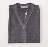 NWT $600 CRUCIANI Gray Dyed Merino Wool Cardigan Sweater Vest S (Eu 48)