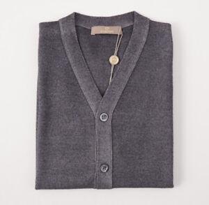 NWT $600 CRUCIANI Gray Dyed Merino Wool Cardigan Sweater Vest Slim XL (Eu 56)