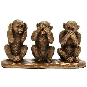 Small Reflections Bronzed 3 Wise Monkeys See No Evil Hear Speak Ornament Figure