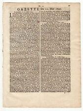 1743, May 11, Original French Gazette, Barbados, Jamaica. Canary Islands