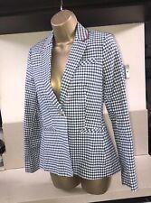 Joules Zayna French Navy Gingham Blazer Size 8 36 New