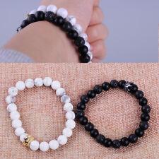 2X Liebespaar Armband Matt Lavastein Achat Perlen Herren Damen Armband Bracelet