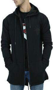 YLD Men's Black Long Fishtail Zip Up Hoodie Jacket, New Hip Hop Star Era, G Coat