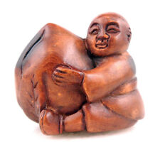 Boxwood Hand Carved Netsuke Sculpture Miniature Baby Boy Big Peach #12091505