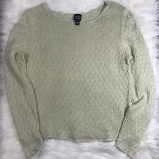 Eileen Fisher Small Linen Yellow Green Cropped Long Sleeve Open Knit Sweater