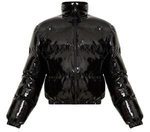 Black Cropped Vinyl Puffer Jacket (Shiny)