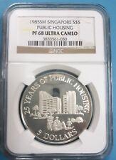 1985 Singapore $5 NGC PF 68 Ultra Cameo '25 yrs of Public Housing'